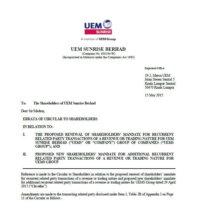 UEM Sunrise Circular to Shareholders 15 May 2015