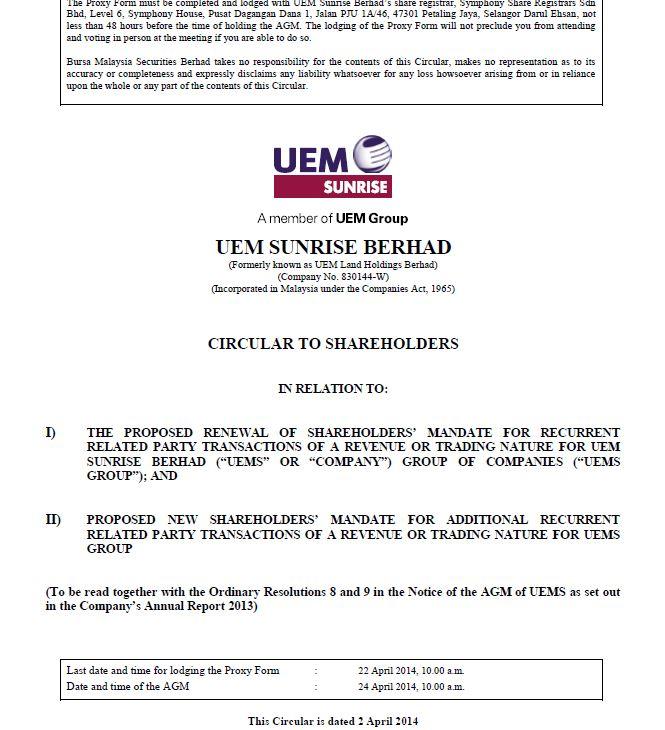 UEM Sunrise Circular to Shareholders 2 April 2014