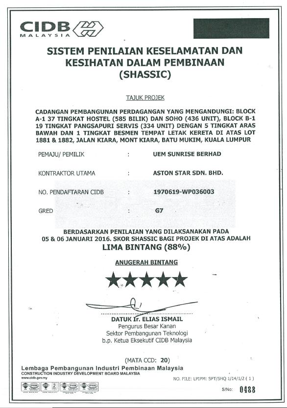 UEM Sunrise SHASSIC 5 STAR 2016 Jan SHASSIC - Arcoris