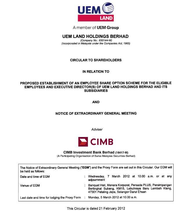 UEM Sunrise Circular to Shareholders 21 February 2012