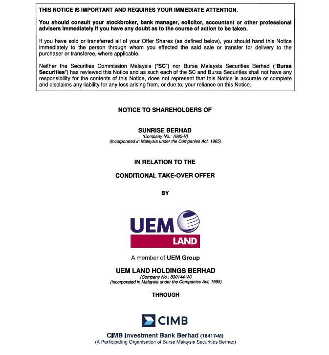 UEM Sunrise Circular to Shareholders 23 December 2010