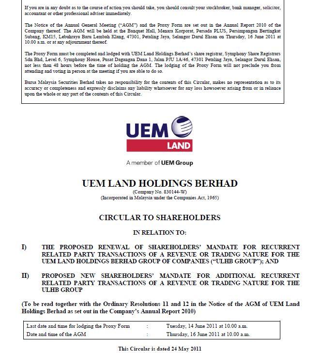 UEM Sunrise Circular to Shareholders 24 May 2011