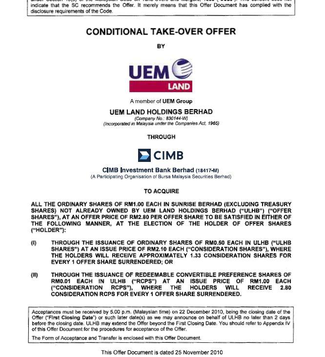 UEM Sunrise Circular to Shareholders 25 November 2010