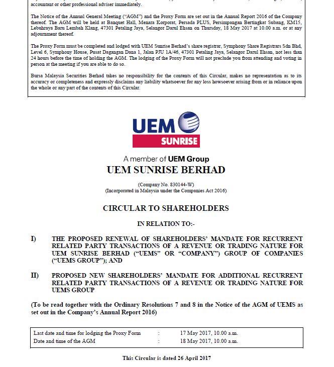UEM Sunrise Circular to Shareholders 26 April 2017