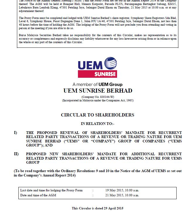 UEM Sunrise Circular to Shareholders 29 April 2015