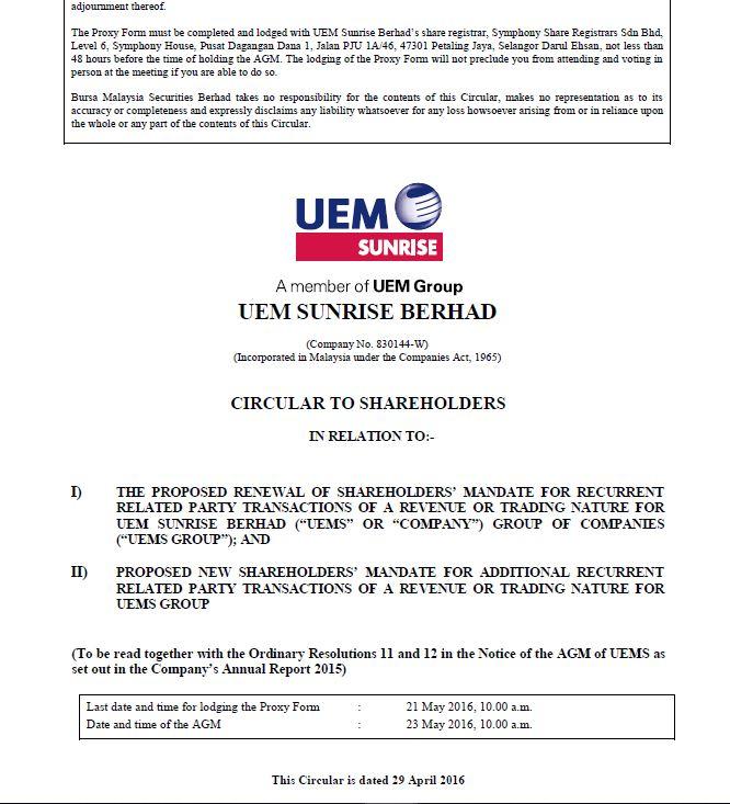 UEM Sunrise Circular to Shareholders 29 April 2016