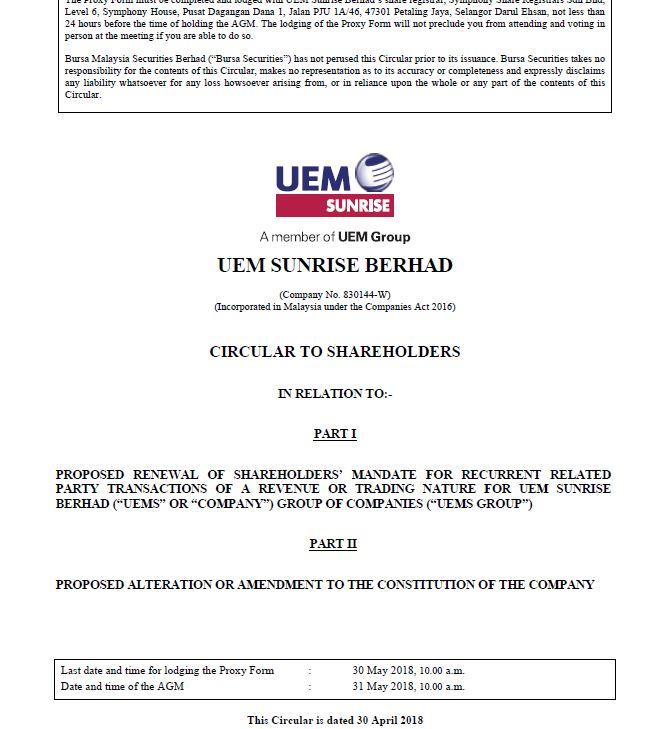 UEM Sunrise Circular to Shareholders 30 April 2018