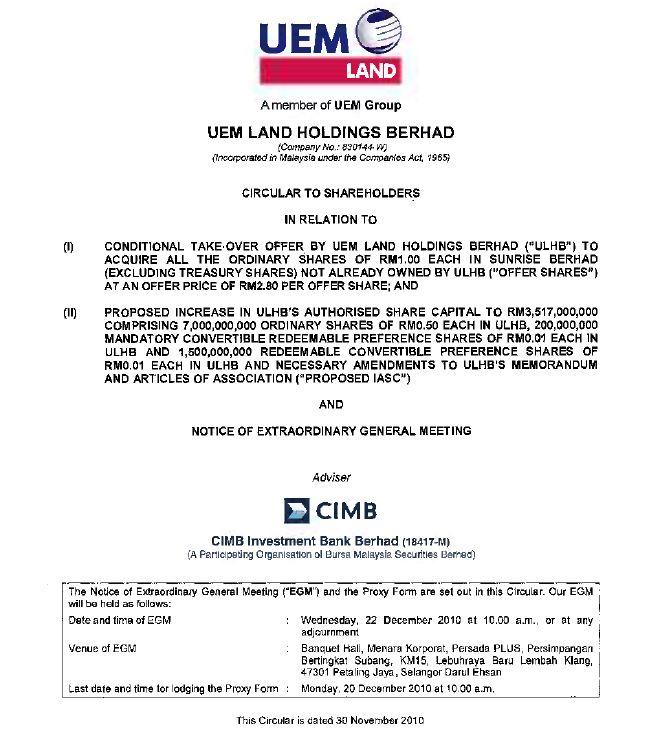 UEM Sunrise Circular to Shareholders 30 November 2010