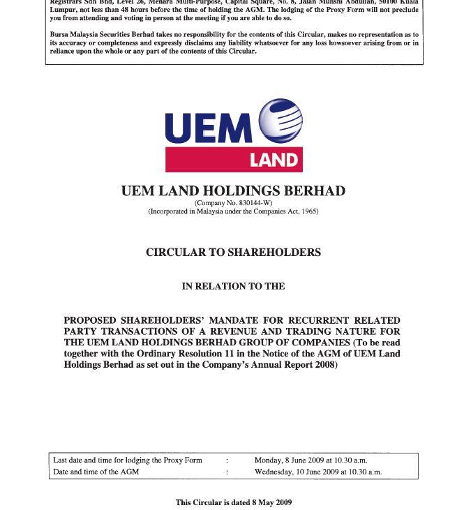 UEM Sunrise Circular to Shareholders 8 May 2009