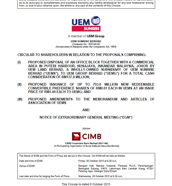 UEM Sunrise Circular to Shareholders 8 October 2015