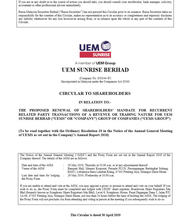 UEM Sunrise Circular to Shareholders 30 April 2019