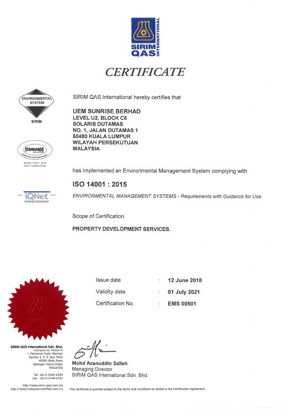 UEM Sunrise ISO Certificates ISO 14001