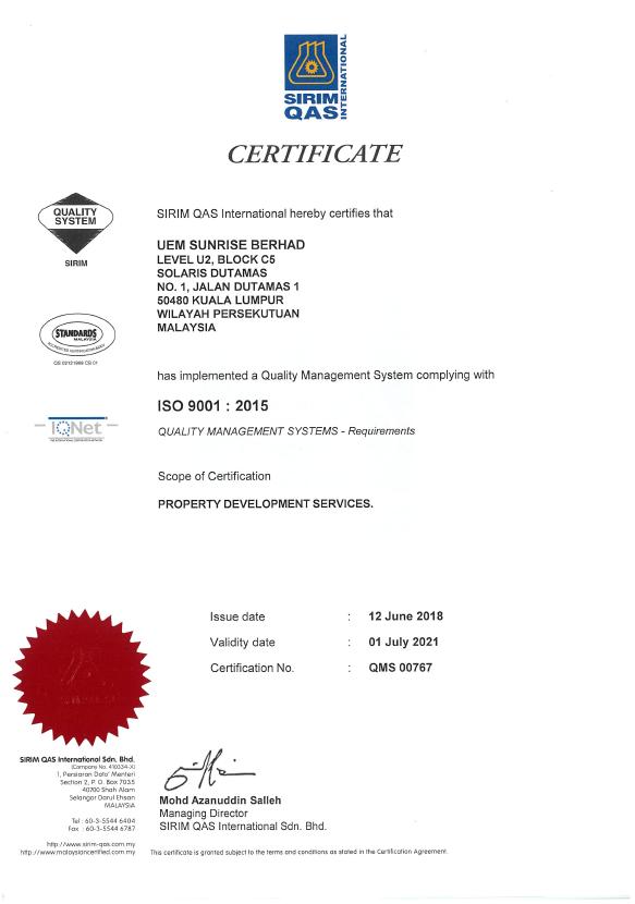 UEM Sunrise ISO Certificates ISO 9001
