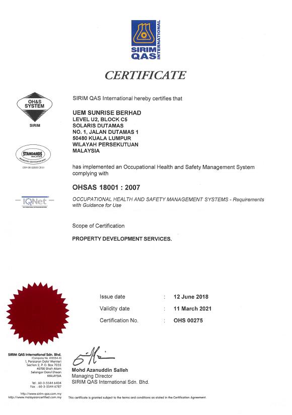 UEM Sunrise ISO Certificates OHSAS 18001